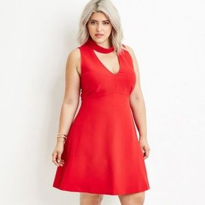 Plus Size Cutout Sheath Dress forever 21- red